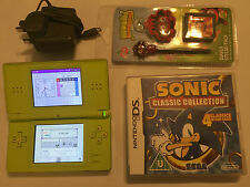 NINTENDO DS LITE dsl NDSL lime console + ultimate SONIC & jeux MARIO collection