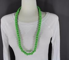 "green wood big bead long 30"" necklace beaded wooden lightweight"