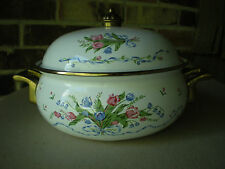 Lincoware Enamelware Brass Tulip French Fleur Covered BuffetDutch OvenPot