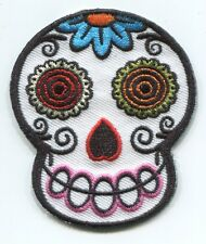 WHITE SUGAR SKULL by von spoon EMBROIDERED PATCH - **FREE SHIPPING** -fdp46