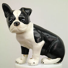 Cast Iron Sitting Boston Bull Terrier 3.3 lb Doorstop Wedge Spencer Style Repro