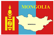 MONGOLIA MAP & FLAG - SOUVENIR NOVELTY FRIDGE MAGNET - BRAND NEW - GIFT