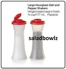 TUPPERWARE New LARGE HOURGLASS SALT & PEPPER SHAKERS in RED! fREEsHIP!