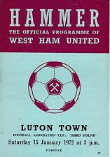WEST HAM UNITED  V LUTON TOWN  FA CUP  15/1/72