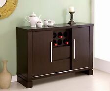 Modern Cabinet Buffet Storage Wine Rack Holder Home Bar Liquor Wood Dining NEW