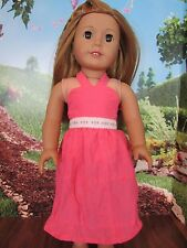 "homemade 18"" american girl/madame alexander long coral sundress doll clothes"