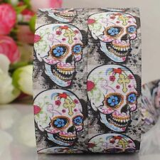 5yds 7/8'' (22mm) skull printed grosgrain ribbon Hair bow y882