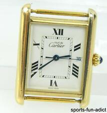 Vtg Men's Women's MUST DE CARTIER TANK Vermeil Sterling Silver Wristwatch 2413