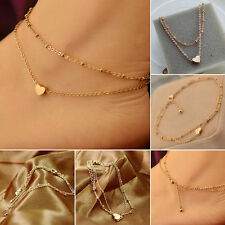 1PC Sexy Gold Love Heart Ankle Bracelet Double Layer Chain Foot Anklet