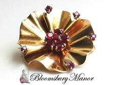 Vintage Tiffany & Co. Mid Century Modern Retro 1950s 14k Gold Ruby Flower Brooch