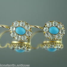 Antique 14ct solid gold earrings turquoise fianites cluster Russian Empire 56