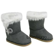 "Gray Button Shearling Ewe Uggly Fur Boots for 18"" American Girl Doll Clothes"