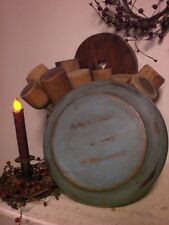 Primitive Wooden Blue Plate /  Bowl - Wood Candle Plate