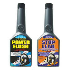 2 Pack AUTO TRANSMISSION GEARBOX & POWER STEERING FLUSH + STOP LEAK ADDITIVE