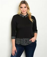 WOMEN'S PLUS SIZE BLACK 3/4 SLEEVE COLLARED TOP PLAID ACCENTS 2XL XXL NWT