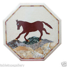 """20"""" Marble Coffee Side Table Top Rare Horse Mosaic Inlay Outdoor Furniture H1999"""