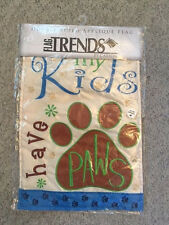 Nwt Double Sided Applique Garden Flag My Kids Have Paws Dog Cat By Carson