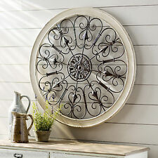White Round Wrought Iron Wall DECOR Rustic Scroll Antique Vintage