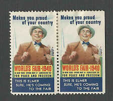 1940 NY WORLDS FAIR COME TO THE FAIR ELMER POSTER STAMP HAS TAPE ON BACK W/GUM