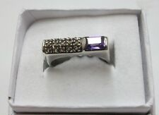 SUPERB AMETHYST AND MARQUISATE RING SET IN STERLING SILVER/SIZE 7/EMERALD CUT