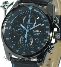 New SEIKO ION BLACK CHRONO With BLACK LEATHER BUCKLE STRAP SNDD71P1