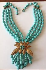 VINTAGE MIRIAM HASKELL SIGNED 4 STRAND BAROQUE TURQUOISE BEAD AND LEAF NECKLACE