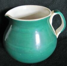 Old Furio Pottery WATER PITCHER Dark Green & White Decorative Server Italy