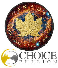 2016 Helix Nebula Maple Leaf - 1 oz $5 Fine Silver Coin - Ruthenium and 24K Gold