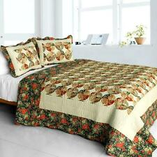 3 PC Bridge to Terabithia shabby floral green red 100% Cotton Queen Quilt Shams