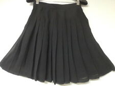 RARE VINTAGE ANN KLEIN SHEER SILK CHIFFON BLACK W/SILK LINING PLEATED SKIRT-4