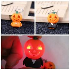 1pc Halloween Pumpkin Shape LED Light With Terror Sound Keyring Keychain Strap