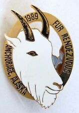 1989 Anchorage Alaska FUR RENDEZVOUS brooch pinback pin MOUNTAIN GOAT