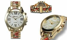 NEW Geneva Platinum 9377 Womens Oasis Gold Flower Polished White Dial Watch fun