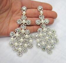 Large Silver Plated Rhinestone Crystal Pearl Dangle Earrings # 33230 Wedding