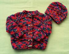 BRAND NEW CHUNKY HAND KNITTED BABY CARDIGAN AND HAT. (22 inch chest)