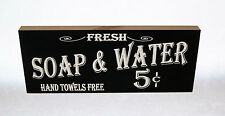 """Fresh Soap & Water Hand Towels Free 10""""x4""""x3/4"""" Wood Block Sign for Bath Shower"""