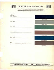 1939 1940 WILLYS OVERLAND AMERICAR ROADSTER PAINT CHIPS SHERWIN WILLIAMS 2 6PC