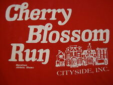 Vintage Cherry Blossom Run Marathon Athletic Shoes Sports Exercise T Shirt M