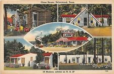 A37/ Helenwood Tennessee Tn Postcard 5View Glass House Cabin Esso Gas Station