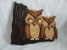 2 Owls Wall Plaque Hand Carved - Vintage from Canada 7 Different Woods