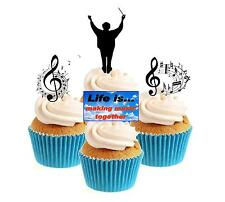 Novelty Music Conductor Mix 12 Edible Stand Up wafer paper cake toppers musical
