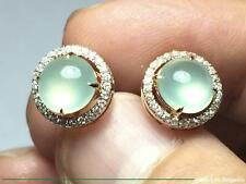 High Quality Cabochon Old Type Icy Jadeite Jade 18K Rose Gold Diamond Earrings