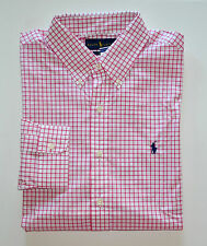 NWT Men's Ralph Lauren Casual Long-Sleeve Shirt, Pink, White, M, Medium