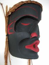 Northwest Coast First Nations wooden Art carving: Dzonokwa Mask, signed