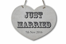 "Personalised Wedding ""JUST MARRIED"" Sign ❤ Rustic Wooden Sign ❤ Chic Heart"