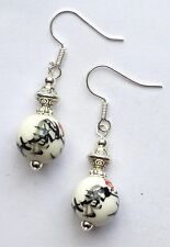 WHITE&BLACK CHINESE PORCELAIN & SILVER DROP EARRINGS - WITH ORGANZA GIFT BAG