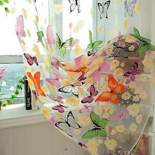 Room Dividers pelmets Butterfly Print Sheer Curtain Panel Window Balcony Tulle