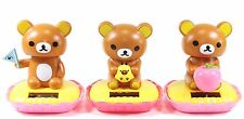 Rilakkuma Relax Bear With Flag&Apple&Bird Japan Figure Solar Toy Gift USA Seller