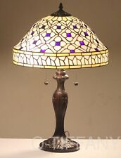 "Tiffany Style Stained Glass Lamp ""Quatrefoil"" w/ Metal Base FREE SHIP in USA"