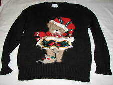 L Windcrest Ladies Teddy Bear Ugly Christmas Sweater Party Black Wool old Womens